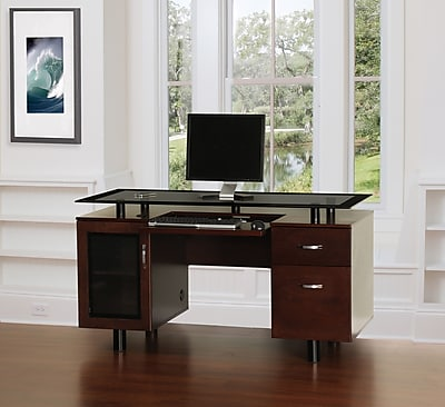 ZLine Designs Hudson Executive Double Pedestal Desk Rich Cherry